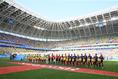 W杯初戦を迎えた西野ジャパン。モルドビアアレーナには多くのコロンビアサポーターが集結。写真:滝川敏之(サッカーダイジェスト写真部/JMPA代表撮影)