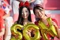 韓国代表を応援する女性サポーターたち。(C)AFC