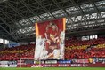 【神戸4-1磐田 PHOTO】試合開始前に掲げられたビジャの巨大フラッグ。写真:田中研治