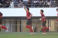 【鵬学園0-2矢板中央】14分、先制ゴールを決める西村碧海|写真:茂木あきら(サッカーダイジェスト写真部)