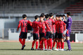 【高校サッカー選手権3回戦PHOTO】昌平3-0創成館|円陣を組む創成館|写真:窪田亮